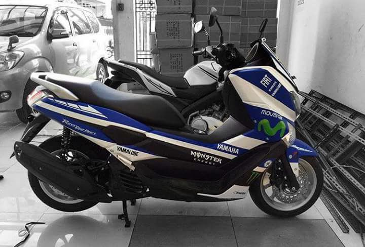 Modifikasi Yamaha Nmax Bermain Cutting Stiker Ala Movistar Yamaha
